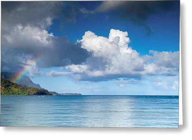 Hanalei Bay And Rainbow Greeting Card by Roger Mullenhour