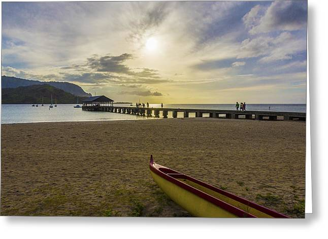 Hanalei Bay Pier Outrigger Canoe Sunset - Kauai Hawaii Greeting Card