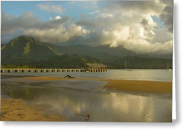 Hanalei Bay Reflections - Kauai Greeting Card by Stephen  Vecchiotti