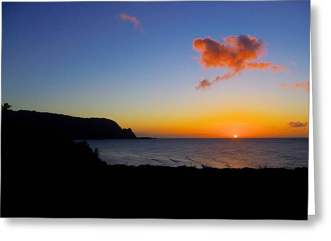 Hanalei Bay Sunset Greeting Card by John  Greaves