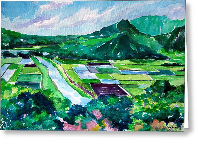 Hanalei From The Lookout Greeting Card by Jon Shepodd