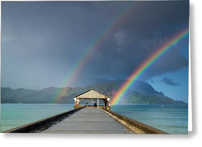 Hanalei Pier And Double Rainbow Greeting Card by Roger Mullenhour