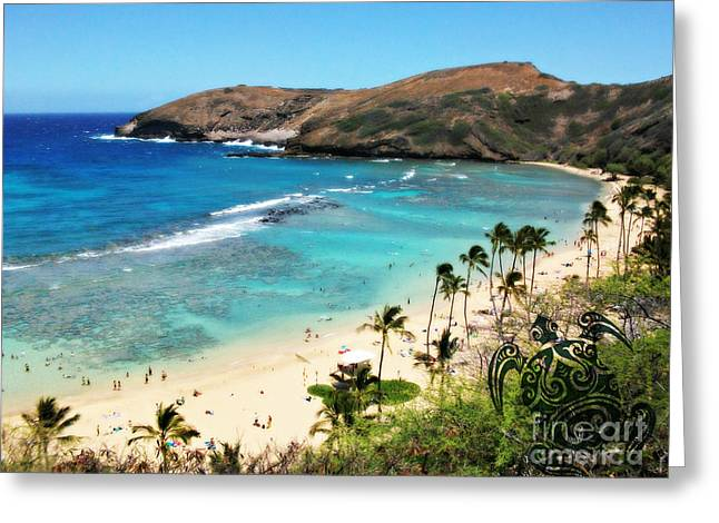 Greeting Card featuring the photograph Hanauma Bay With Turtle by Mindy Bench