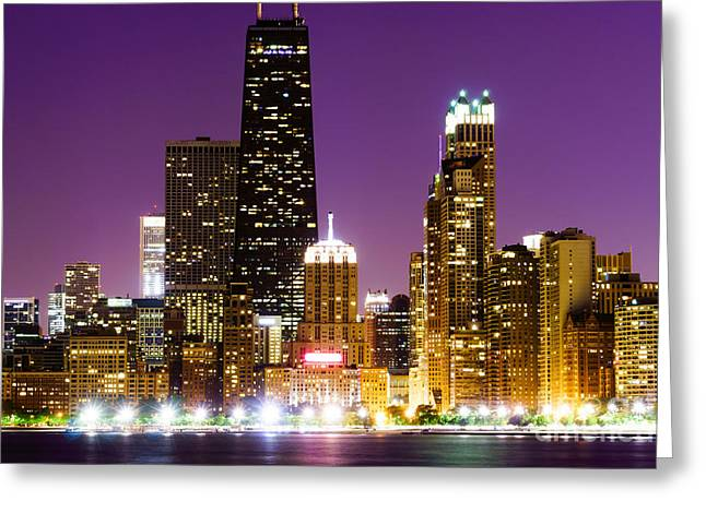 Hancock Building At Night In Chicago Greeting Card by Paul Velgos