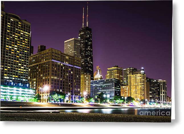 Hancock Building With Dusk Chicago Skyline Greeting Card by Paul Velgos