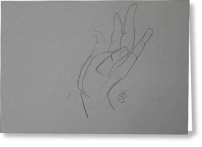 Greeting Card featuring the drawing Hand by AJ Brown