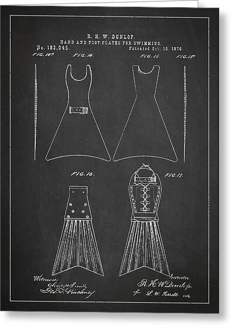 Hand And Foot Plates For Swimming Patent Drawing From 1876 Greeting Card by Aged Pixel