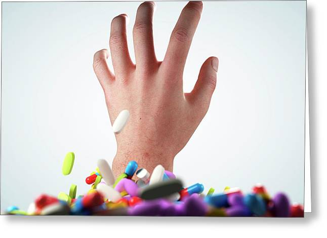 Hand And Pills And Tablets Greeting Card