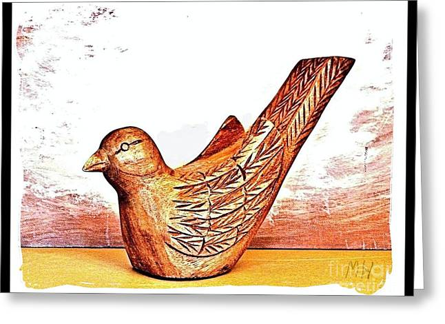 Hand Carved Wooden Bird Greeting Card by Marsha Heiken