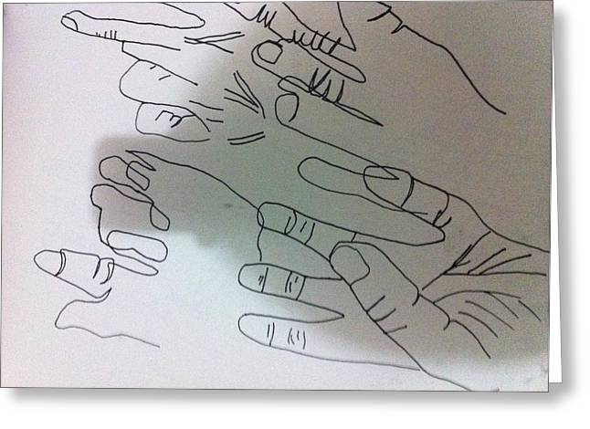 Hand Contour Greeting Card by Khoa Luu