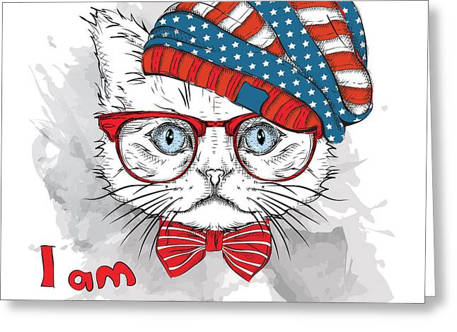 Hand Draw Cat In A Usa Hat. Vector Greeting Card