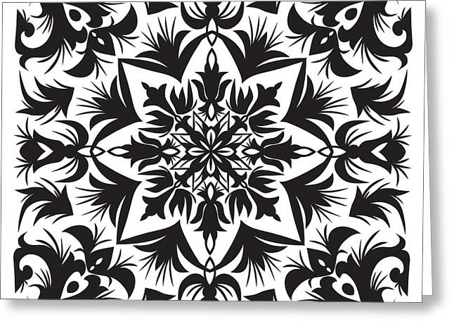 Hand Drawing Pattern For Tile In Black Greeting Card