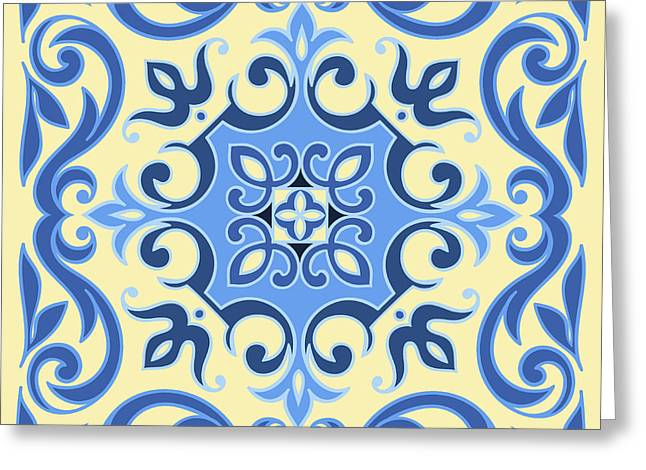 Hand Drawing Tile Pattern In  Blue And Greeting Card