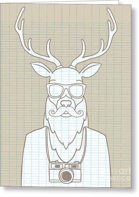 Hand Drawn Hipster Deer In Sunglasses Greeting Card