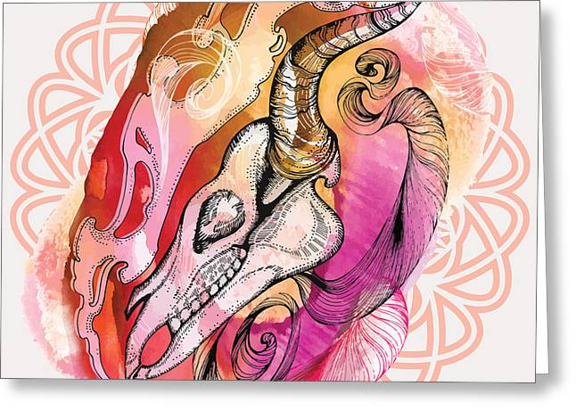 Hand Drawn Horse Skull. Hand Draw Greeting Card