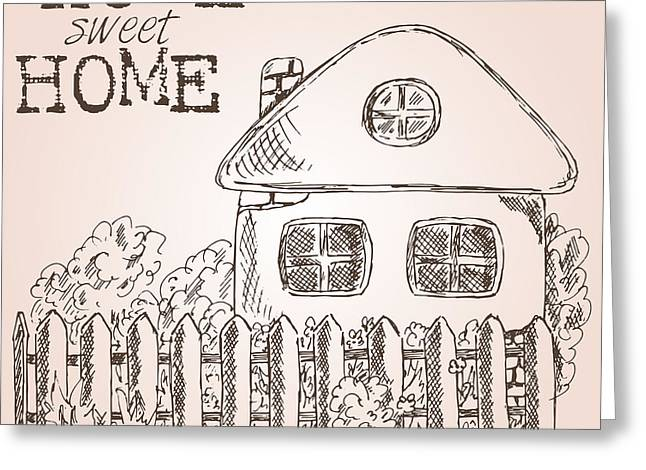 Hand Drawn Ink Sketch Home. Village Greeting Card