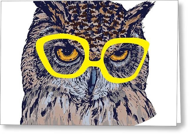 Hand Drawn Owl Face With Yellow Greeting Card