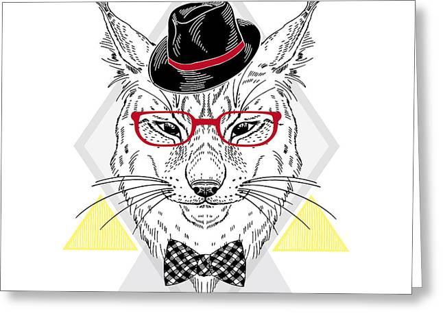 Hand Drawn Portrait Of Hipster Lynx In Greeting Card