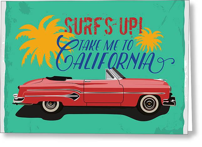 Hand Drawn Retro Car With A Text Take Greeting Card