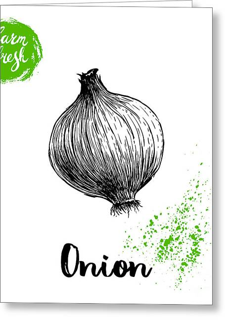 Hand Drawn Sketch Onion. Farm Fresh Greeting Card