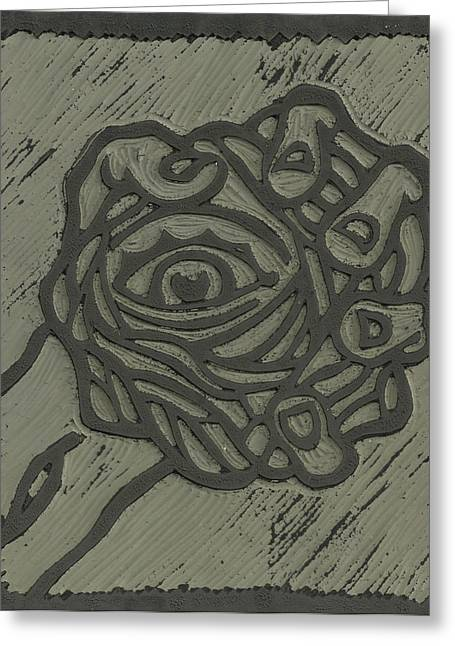 Hand Eye Coordination Linoleum Block Carving Greeting Card by Shawn Vincelette