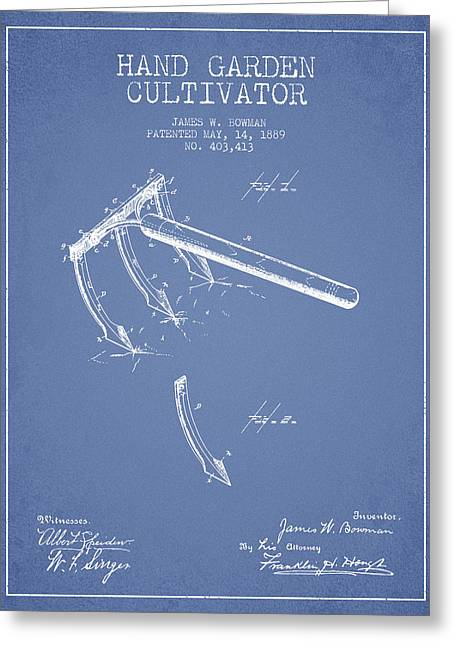 Hand Garden Cultivator Patent From 1889 - Light Blue Greeting Card by Aged Pixel