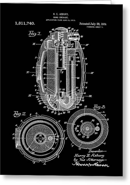 Hand Grenade Patent 1917 - Black Greeting Card by Stephen Younts