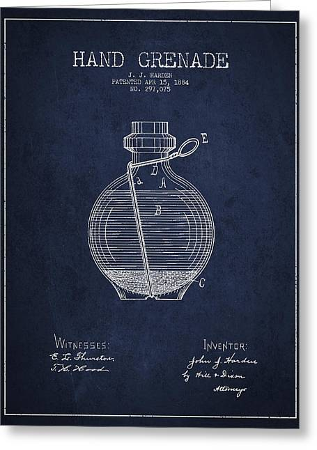 Hand Grenade Patent Drawing From 1884 Greeting Card by Aged Pixel