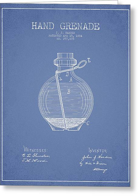 Hand Grenade Patent Drawing From 1884 - Light Blue Greeting Card by Aged Pixel