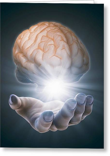 Hand Holding Brain Greeting Card