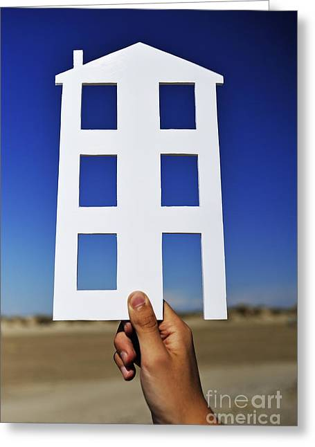 Hand Holding House Shape Outdoors Greeting Card by Sami Sarkis