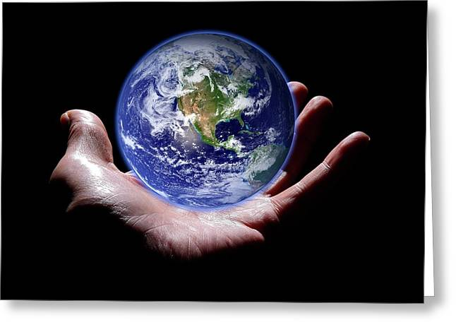 Hand Holding The Earth Greeting Card by Victor De Schwanberg