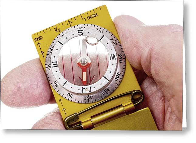 Hand Holding Vintage Compass Arrow Pointing North Greeting Card