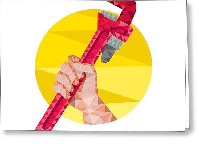 Hand Holding Wrench Circle Low Polygon Greeting Card by Aloysius Patrimonio