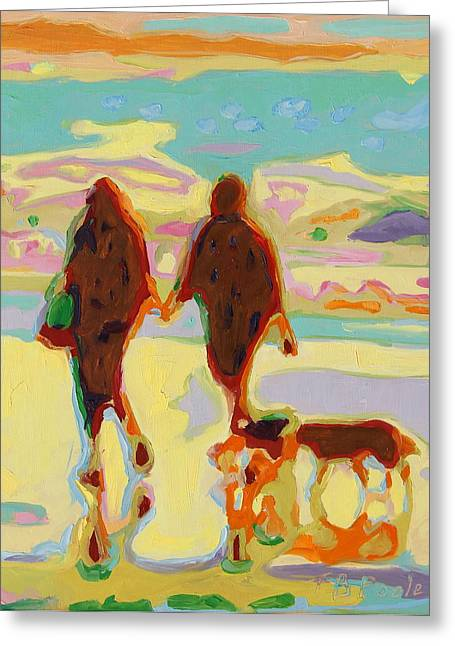 Hand In Hand On Beach With Two Dogs Oil Painting Bertram Poole Greeting Card