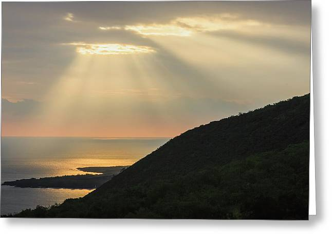 Hand Of Gold Lighting Over Pali  Cliff Greeting Card by Alvis Upitis