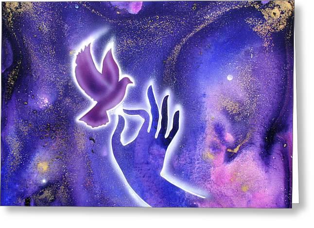 Hand Of Peace Greeting Card by Ilene Satala
