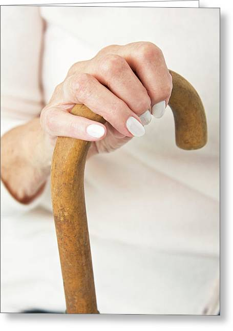 Hand On A Walking Stick Greeting Card