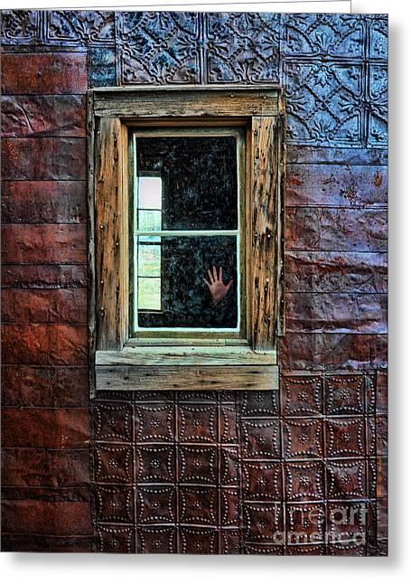 Hand On Old Window Greeting Card by Jill Battaglia