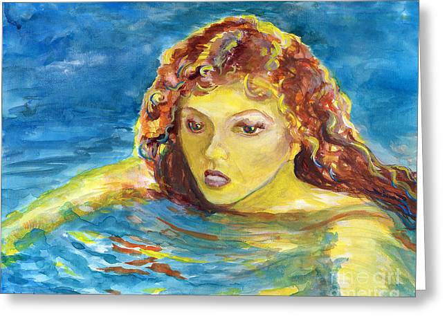 Hand Painted Art Adult Female Swimmer Greeting Card by Lenora  De Lude