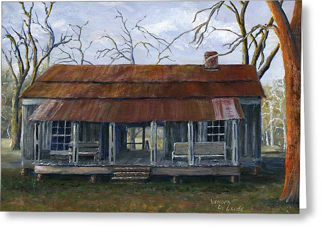 Hand Painted Art Dogtrot House In Pleasant Hill Louisiana Greeting Card by Lenora  De Lude