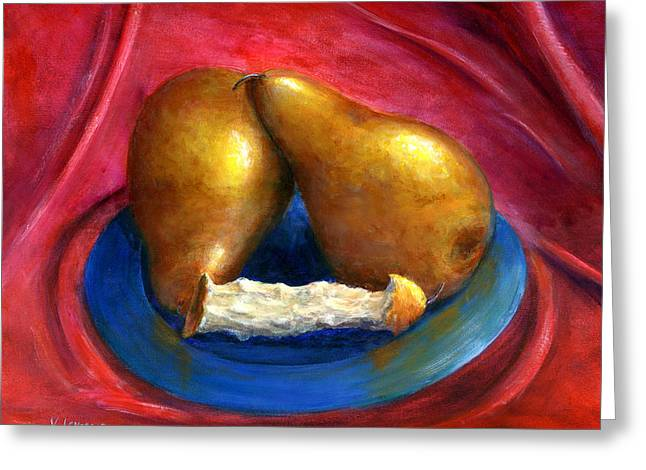 Hand Painted Art Fruit Still Life Pears Greeting Card by Lenora  De Lude