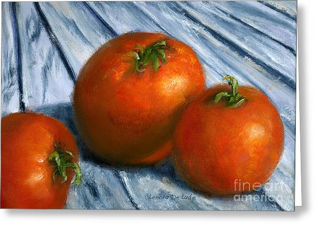 Hand Painted Art Still  Life Tomatoes Greeting Card