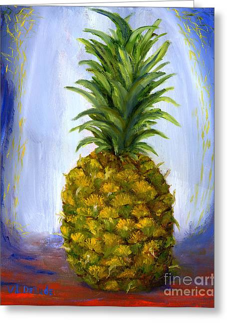 Hand Painted Pineapple Fruit  Greeting Card