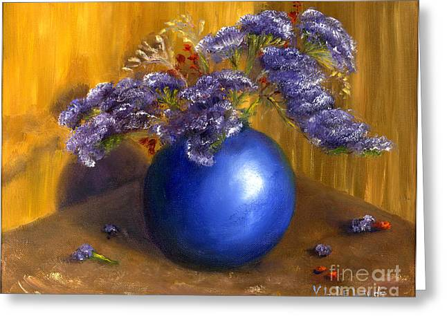 Hand Painted Still Life Blue Vase Purple Flowers Greeting Card