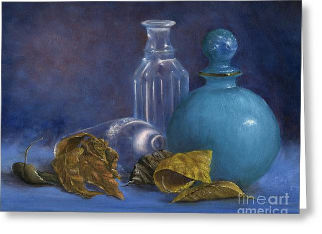 Hand Painted Still Life Bottles Leaves Greeting Card