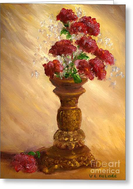 Hand Painted Still Life Red Flowers Gold Vase Painting By