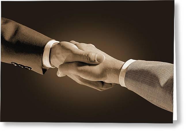 Hand Shake Greeting Card by Don Hammond