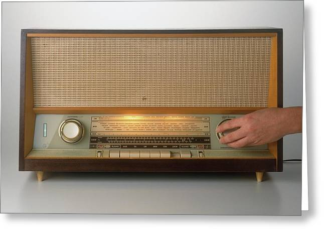 Hand Turning On A Vintage Radio Greeting Card