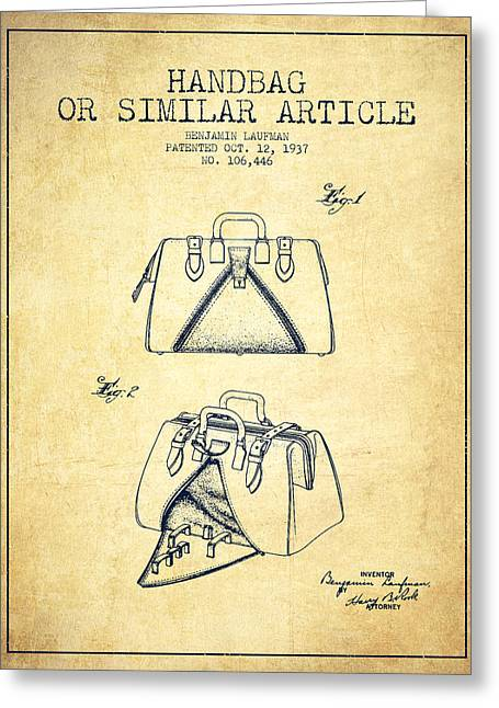 Handbag Or Similar Article Patent From 1937 - Vintage Greeting Card by Aged Pixel